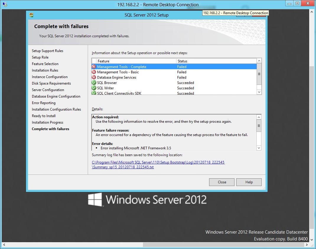 Installation of SQL Server 2012 on Server 2012 beta: NetFx3