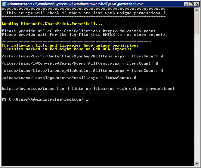PowerShell Script to list all lists and libraries with unique